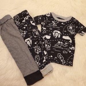 Carters BlackWhite Unisex Pirate Pajama BundleSet